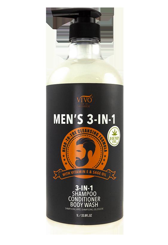 Mens 3-in-1 Shampoo Conditioner Body Wash